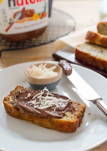 Coconut Banana Bread spread with Nutella.