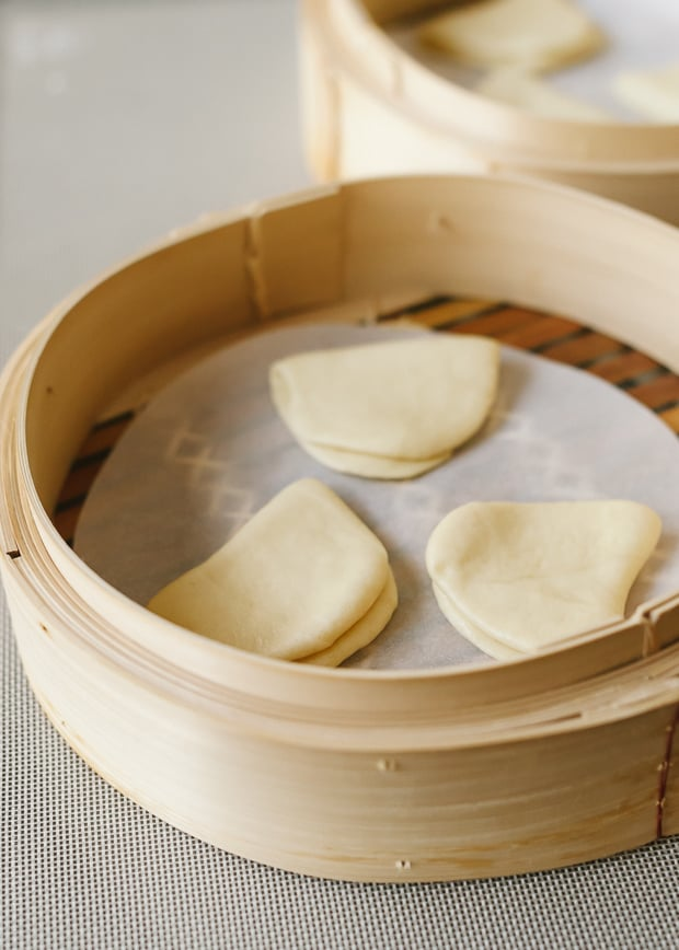 Buns in a steamer for pork belly buns.