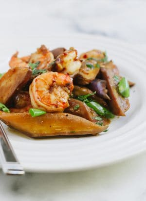 Sambal Glazed Eggplant and Shrimp | www.kitchenconfidante.com