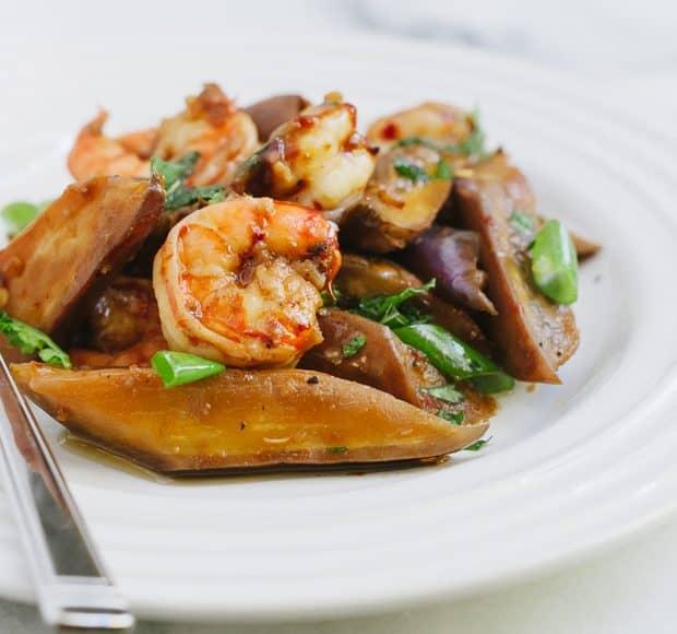 Sambal Glazed Eggplant and Shrimp | www.kitchenconfidante.com