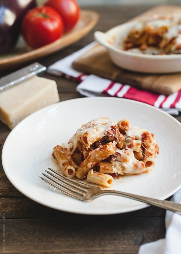 A serving of Baked Ziti with Roasted Eggplant on a white plate.