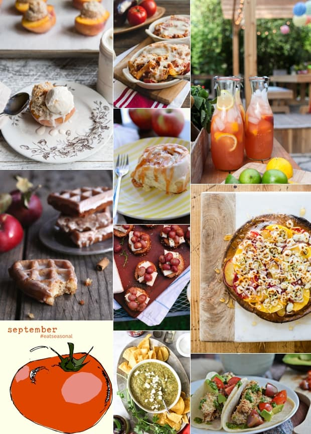 A collage image of various food recipes for September.