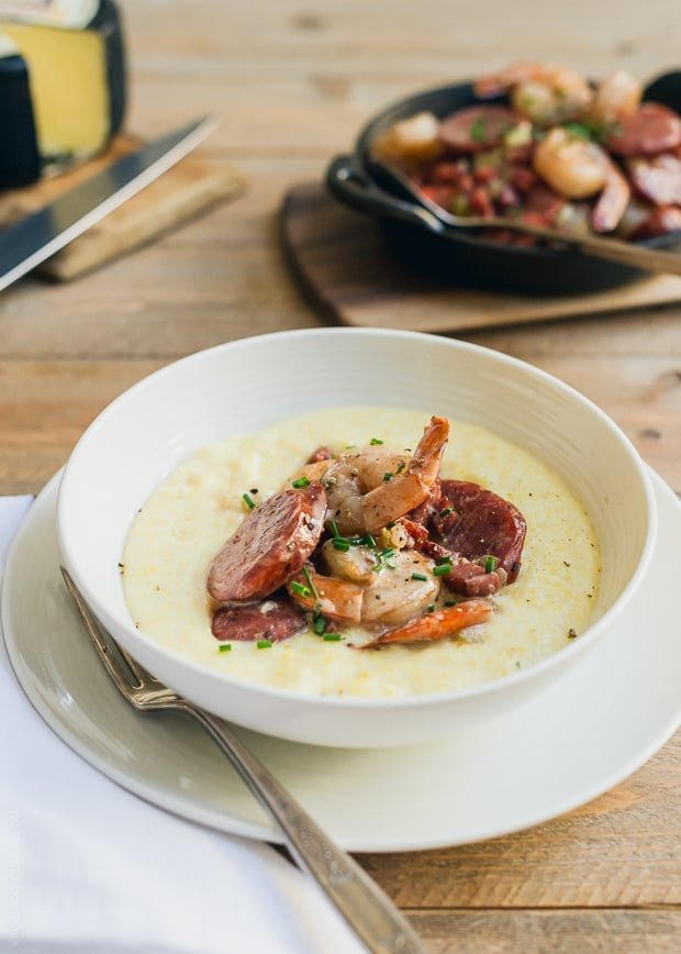 Shrimp and Smoked Sausage with Aged Cheddar Grits | www.kitchenconfidante.com