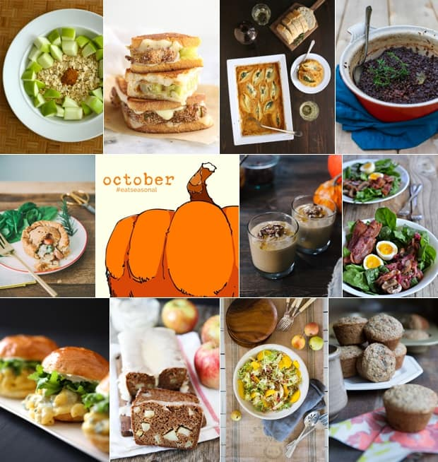 A collage of food images for #EatSeasonal October 2014.