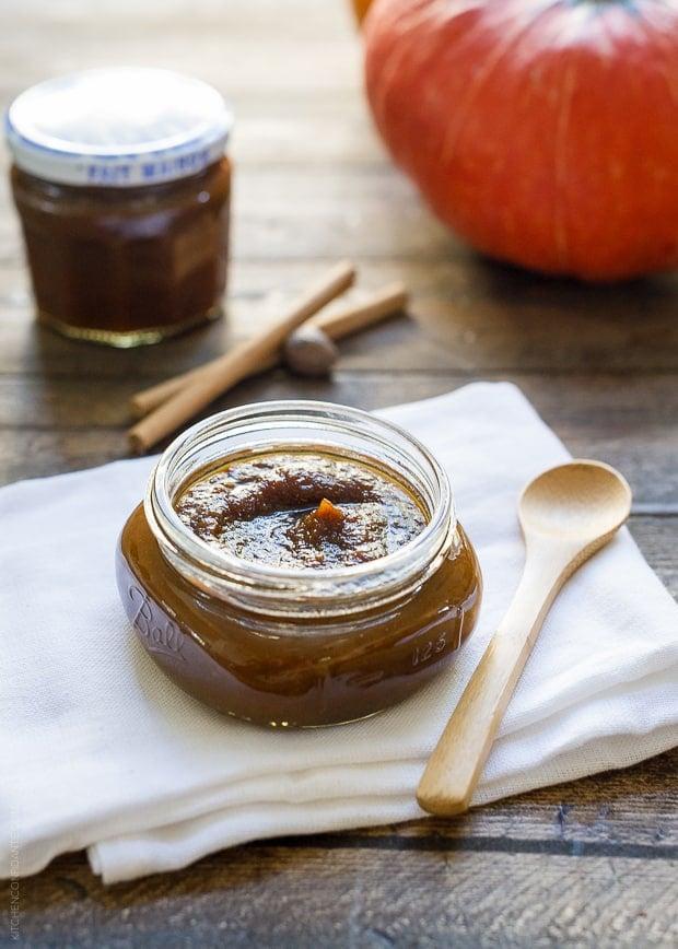 Homemade Maple Pumpkin Butter in a glass jar.