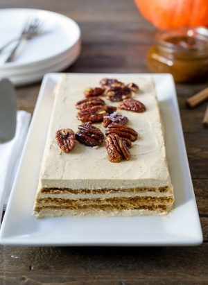 No Bake Pumpkin Spice Kahlúa Cheesecake | www.kitchenconfidante.com | This no-bake dessert is a delicious way to celebrate fall flavors with Kahlúa