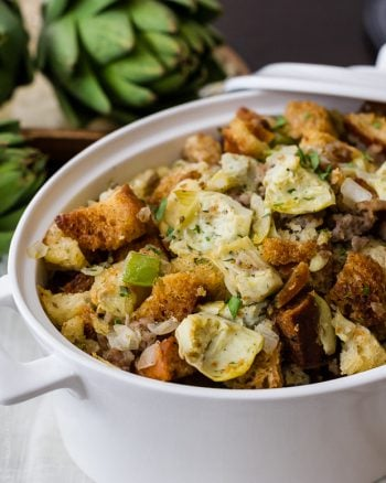A large dish filled with sourdough sausage stuffing.