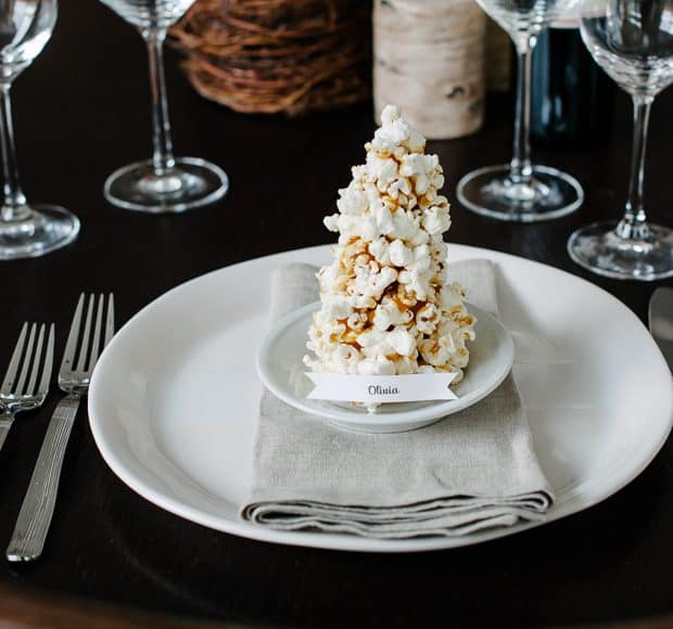 Popcorn Christmas Tree Place Cards DIY | www.kitchenconfidante.com | A simple and edible place card!