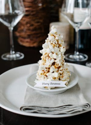 Popcorn Christmas Tree Place Cards DIY | www.kitchenconfidante.com | Merry Christmas
