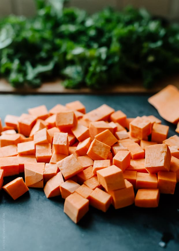 Chopped sweet potatoes for Sweet Potato and Kale Coconut Curry Soup.