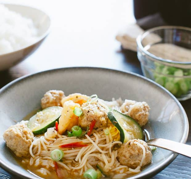 Misua Bola-Bola - Filipino Meatball Noodle Soup | www.kitchenconfidante | A truly comforting bowl of noodle soup - and a family favorite.