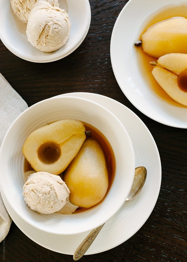 Tea Poached Pears with Earl Grey Ice Cream | www.kitchenconfidante.com | The perfect dessert for entertaining - everything can be made in advance!