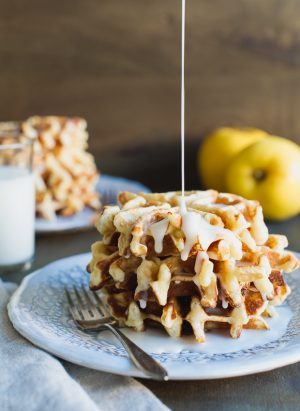 Apple Stuffed Belgian Waffles | www.kitchenconfidante.com | It's like apple fritters meeting Belgian waffles for the first time and giving each other a warm hug.