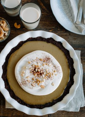 Cashew Butterscotch Pudding Pie - www.kitchenconfidante.com | A sweet, dairy free treat - topped with cashew cream.