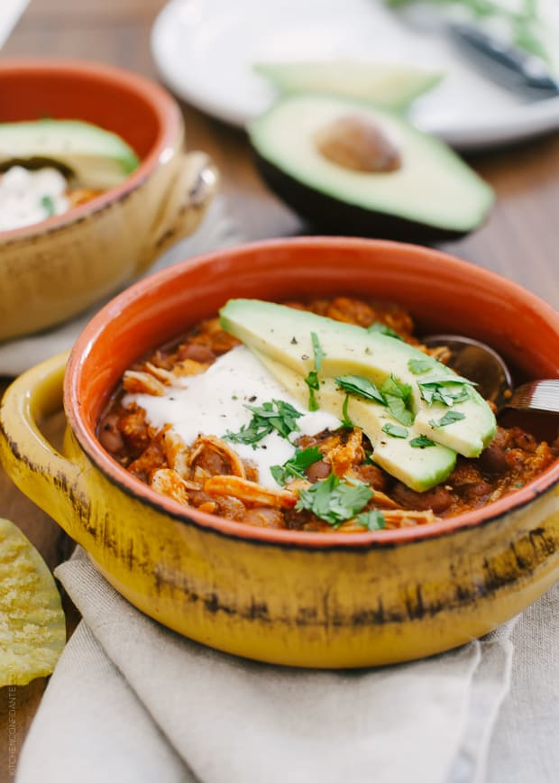 Chicken Chili | www.kitchenconfidante.com | A delicious chili in 30 minutes.