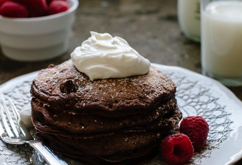 """Eggless Chocolate Pancakes   www.kitchenconfidante.com   Out of eggs or need to omit them? Make these dark chocolate pancakes with a flaxseed """"egg"""" substitute."""