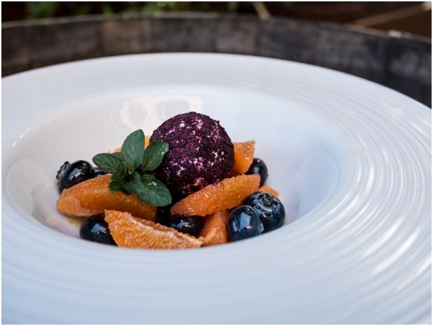 A large white bowl filled with a gourmet presentation of blueberries at the US Highbush Blueberries CIA Bootcamp.