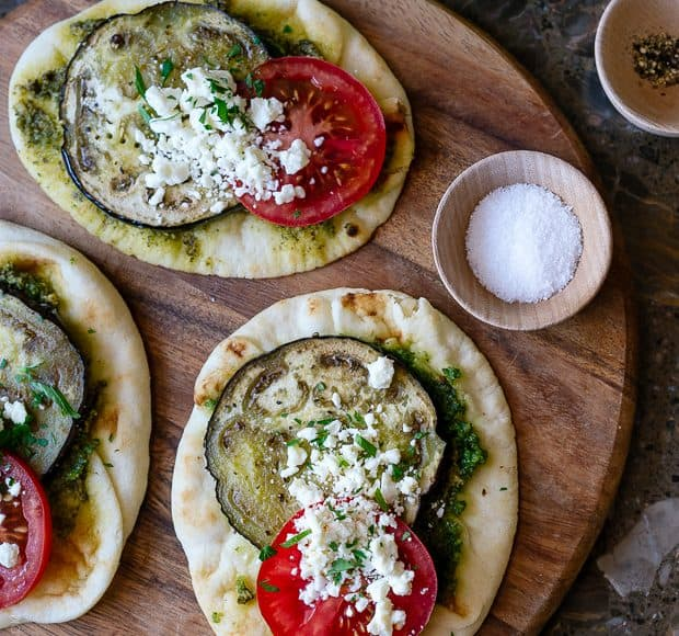 Roasted Eggplant, Tomato and Pesto Mini Naan | www.kitchenconfidante.com | Eat it straight out of the oven or packed in a picnic, these mini naan are simple to make and perfect for spring and summer picnics!