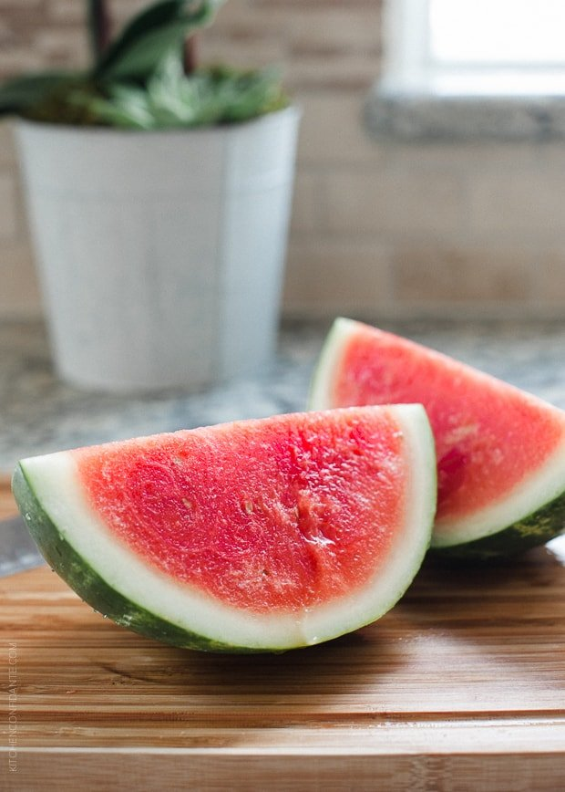 Slices of fresh watermelon.