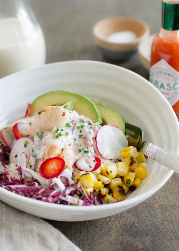 Dungeness Crab Salad with Buttermilk Garlic Pepper Sauce.