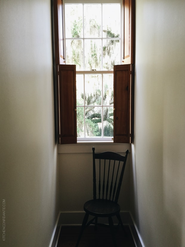 Scenes from Avery Island--A window, open, with a chair in front.