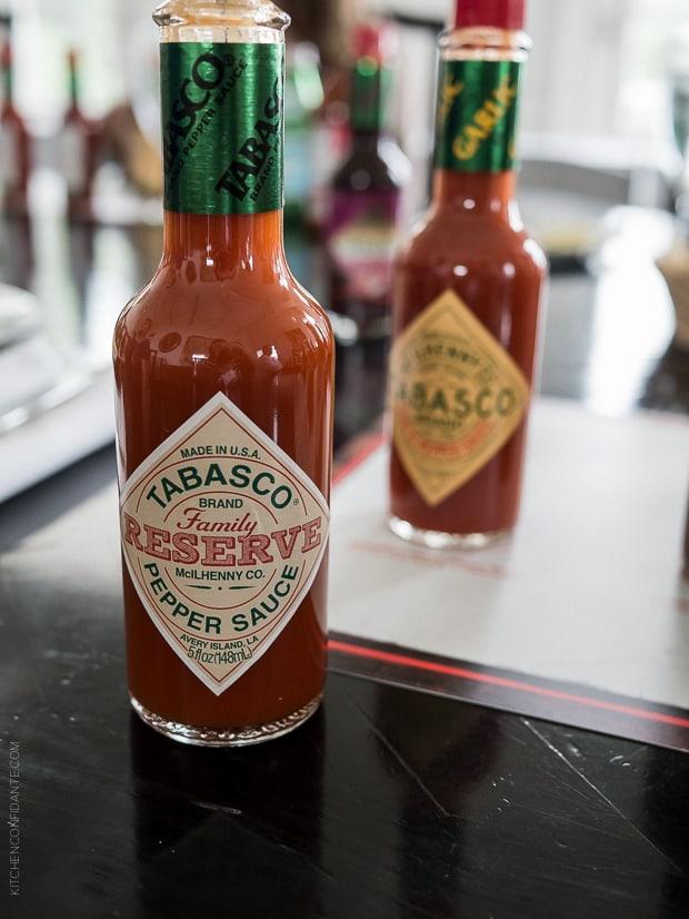 A bottle of Tabasco Reserve Pepper Sauce.
