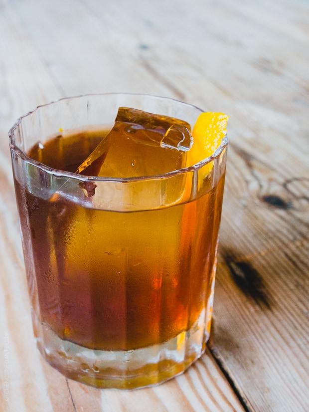 Scotch & Salt Cocktail on a wooden surface.