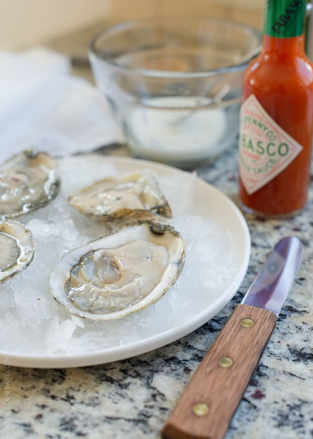 Fresh oysters on a dish of ice.