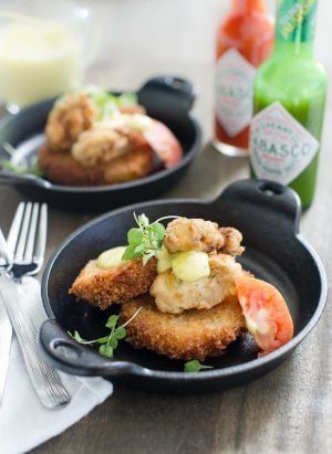 Fried Heirloom Tomatoes with Buttermilk Fried Oysters and Green Pepper Aioli | www.kitchenconfidante.com | The ultimate savory Cajun-inspired bite featuring Tabasco Green Pepper Sauce.