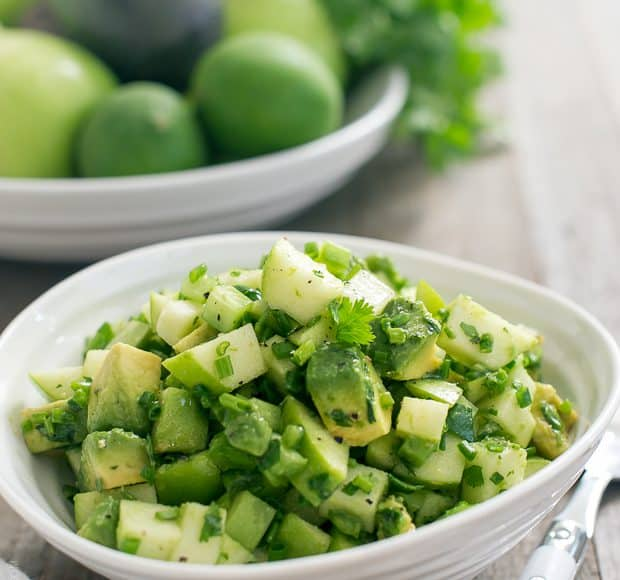 Green Apple Salsa Verde in a white bowl.