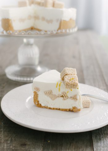 A slice of No-Churn Cheesecake Ice Cream Cake on a white plate.
