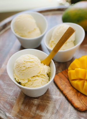 Dairy Free Mango Coconut Ice Cream | www.kitchenconfidante.com | Stay cool with a scoop of this simple ice cream!