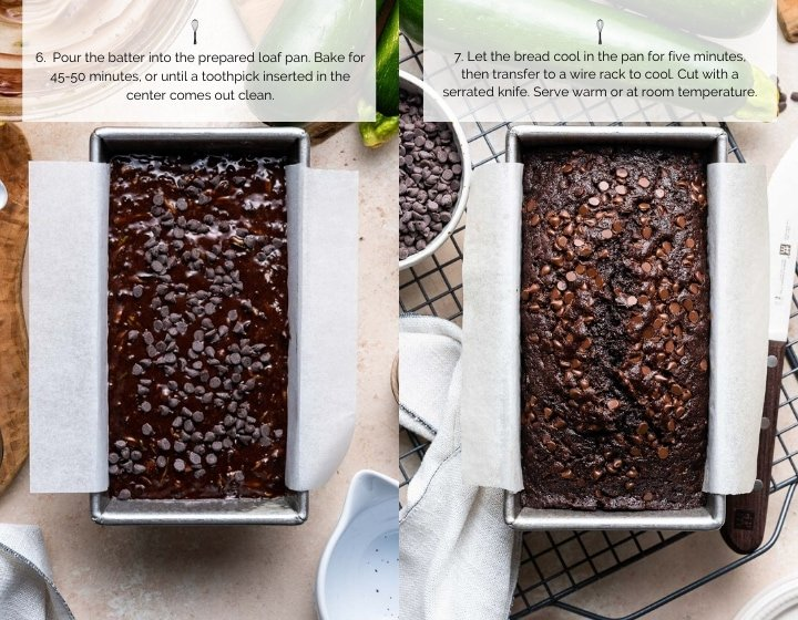 Step by step instructions for how to make double dark chocolate zucchini bread.