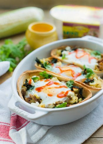 Baked Egg Taco Boats in a casserole dish.