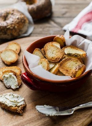 Garlic Parmesan Bagel Chips | www.kitchenconfidante.com | Transform bagels into your favorite crunchy snack!