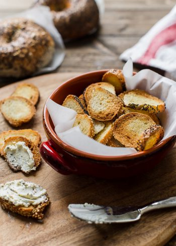 Garlic Parmesan Bagel Chips in a serving bowl.