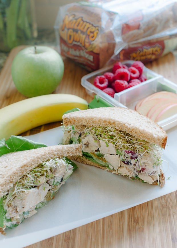 Green Apple Chicken Salad (Mayo Free) packed into a sandwich.