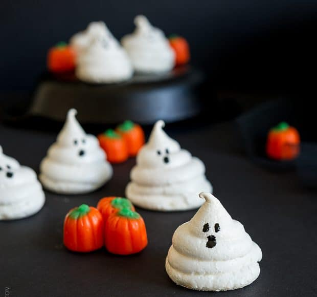 Friendly Ghost Meringues and More Halloween Treats | www.kitchenconfidante.com | Ghostly meringues are a sweet and simple Halloween Treat!
