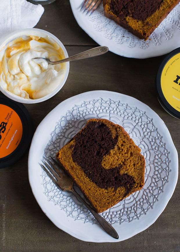 Chocolate Marble Pumpkin Bread served alongside pumpkin noosa yoghurt.