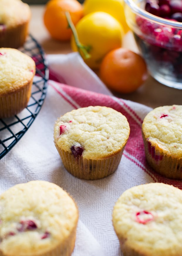 Muffins with Meyer lemons and clementines in the background.