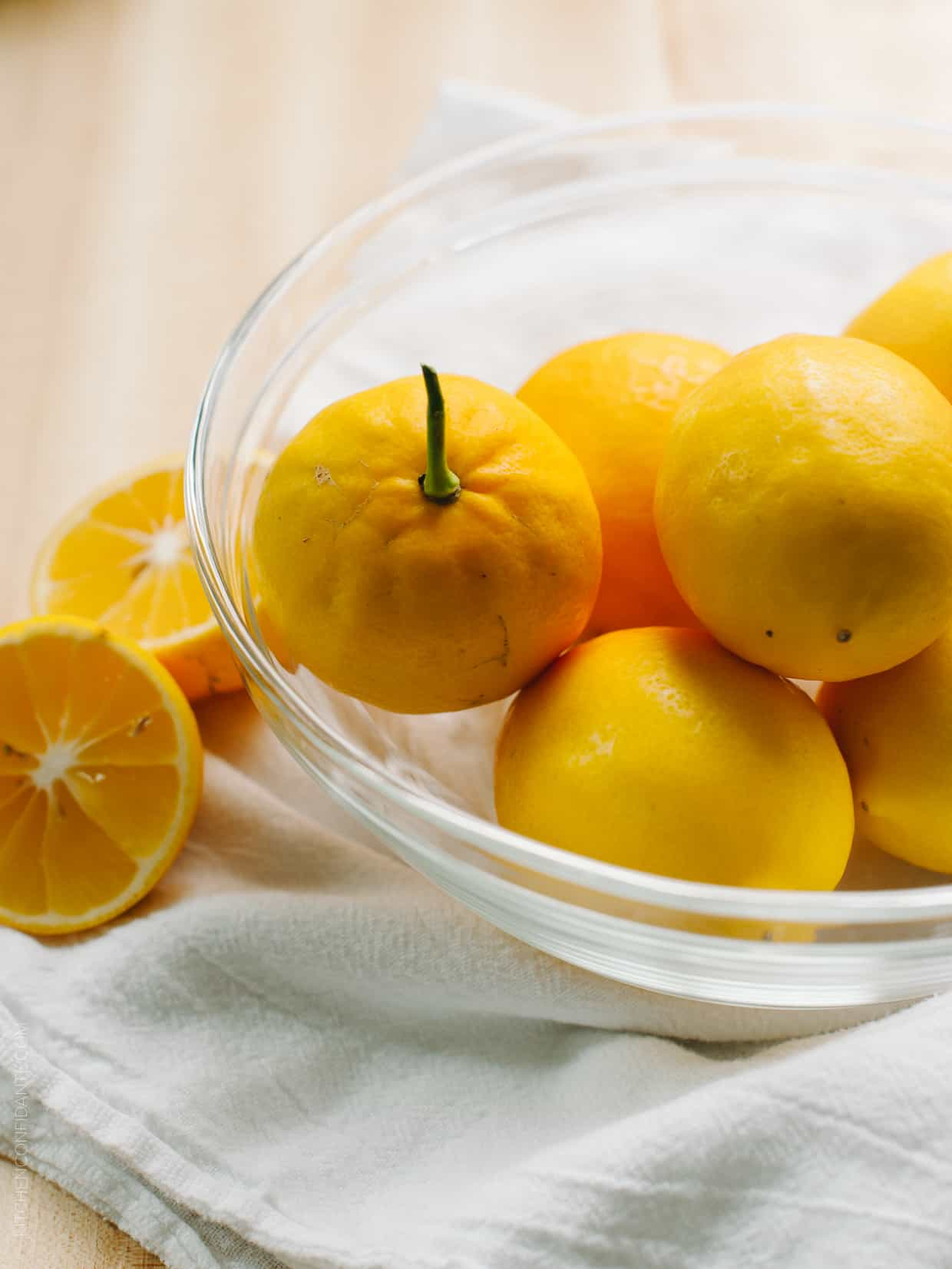 A bowl filled with Meyer lemons.