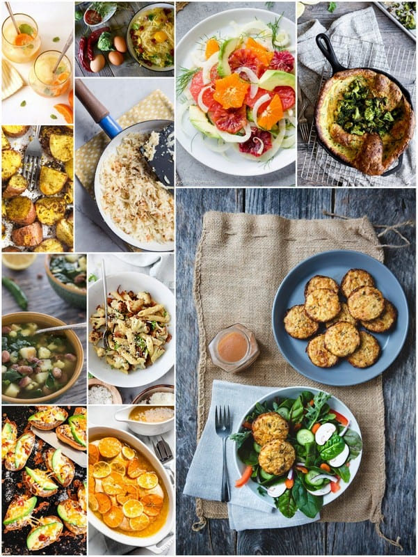 A collage image of recipes to Eat Seasonal in February.