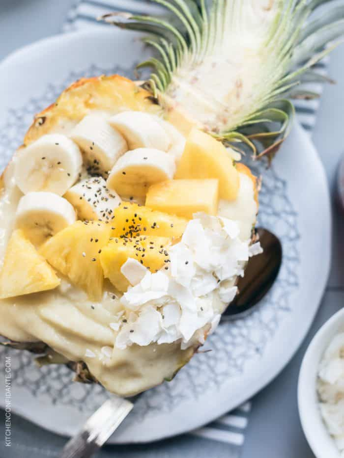 Pineapple Smoothie Bowl with fresh bananas, pineapple, coconut and chia seeds.