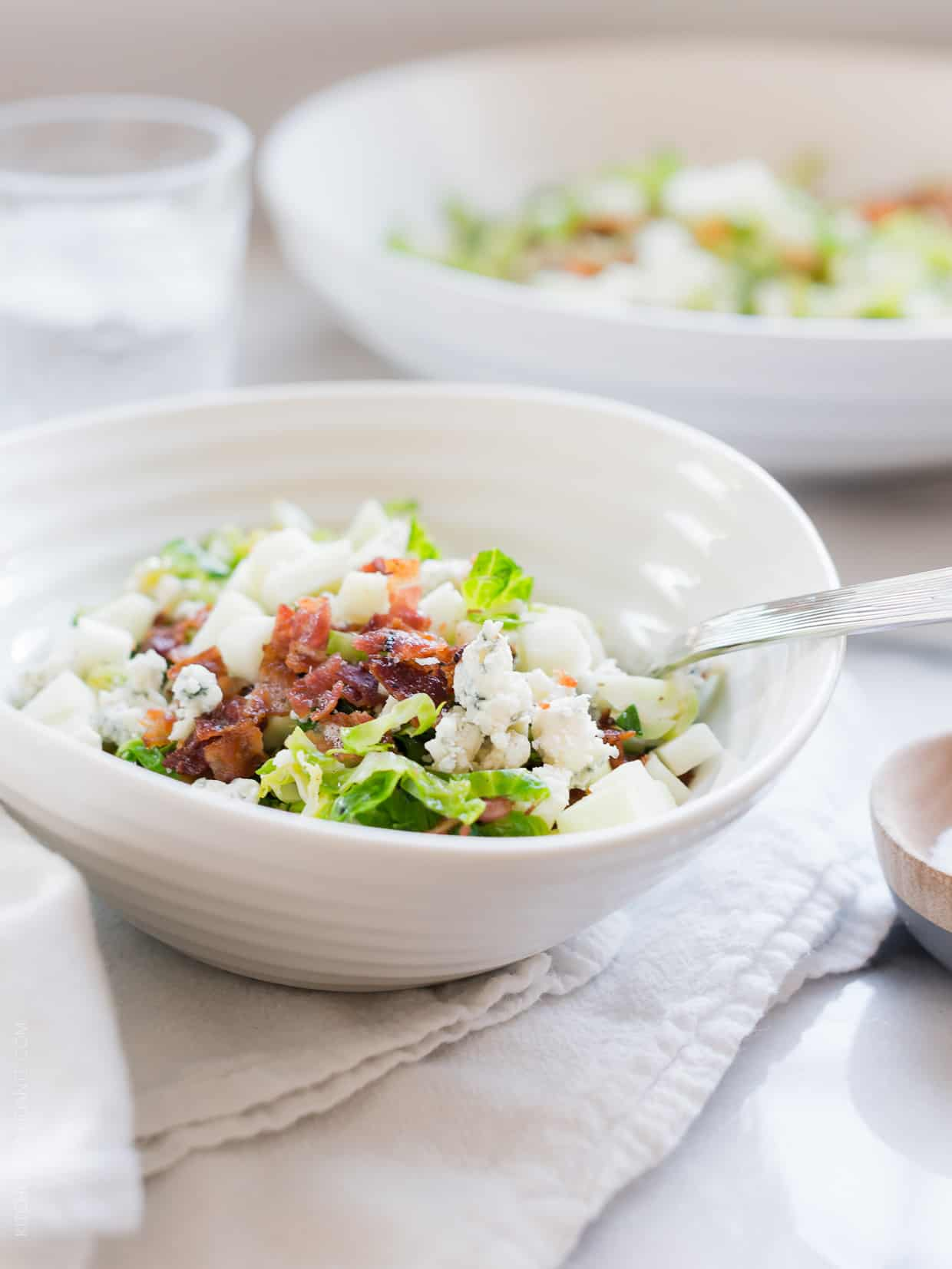 Shredded Brussels Sprouts Salad with Bacon, Apple & Gorgonzola