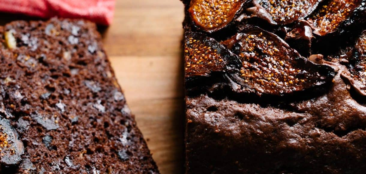 Sliced loaf of Chocolate Banana Fig Bread with slices of fig on top.