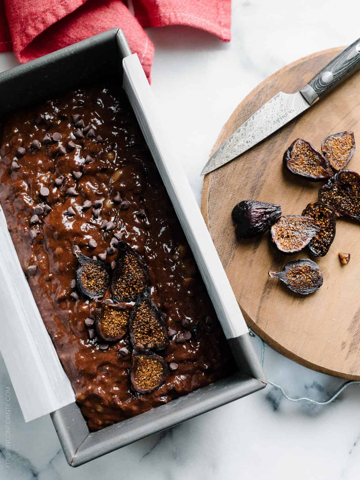 Chocolate and figs pair perfectly together in this Chocolate Banana Fig Bread.