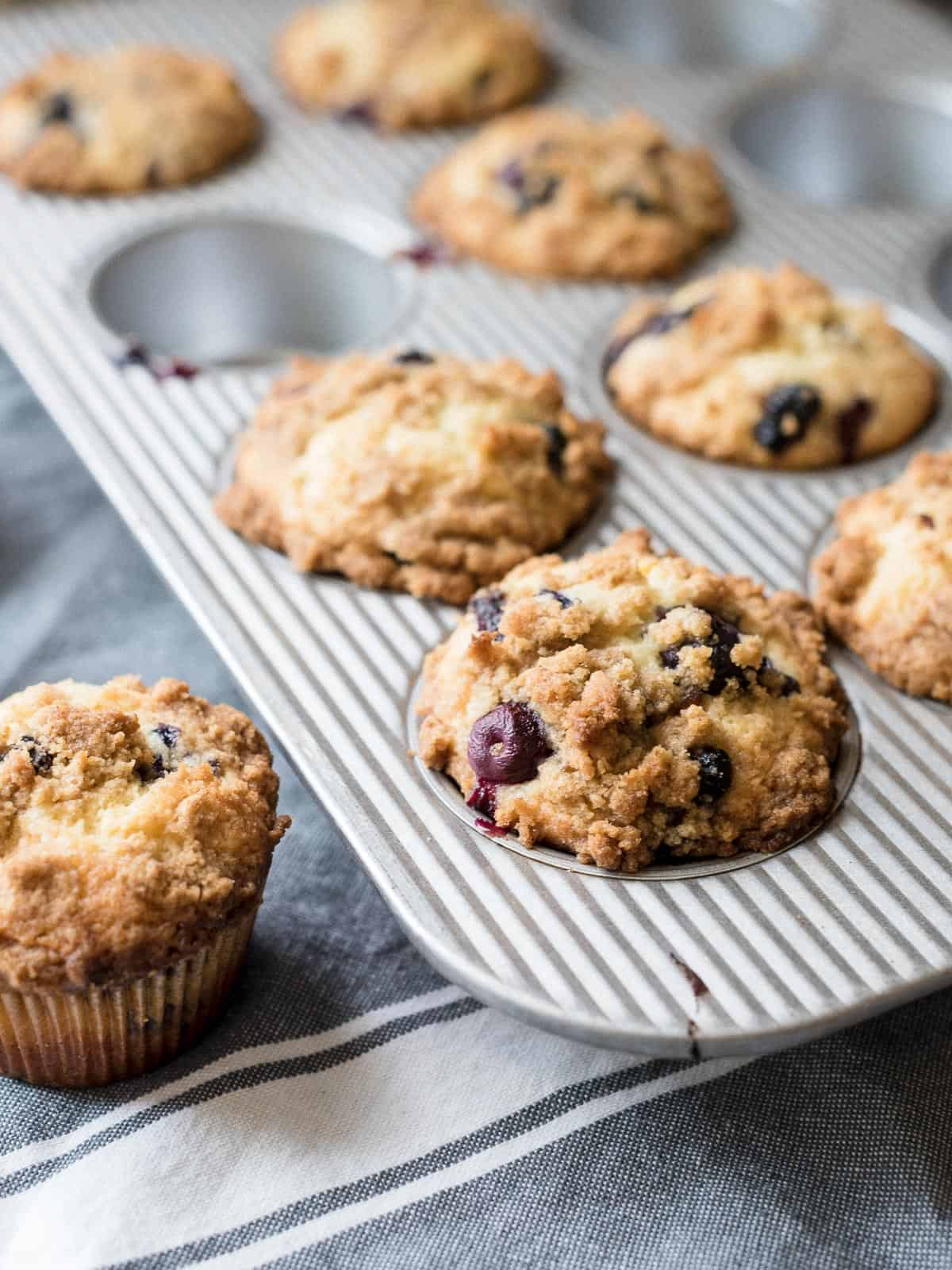 Bakery Style Buttermilk Blueberry Muffins