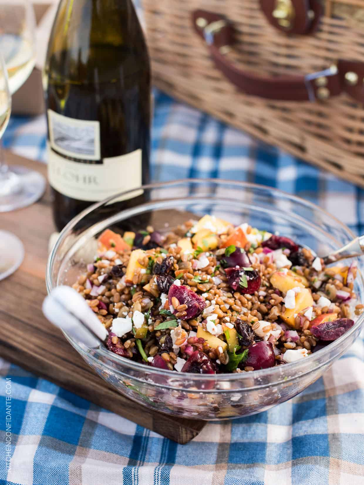 Summer Wheatberry Salad with Stone Fruits and Goat Cheese