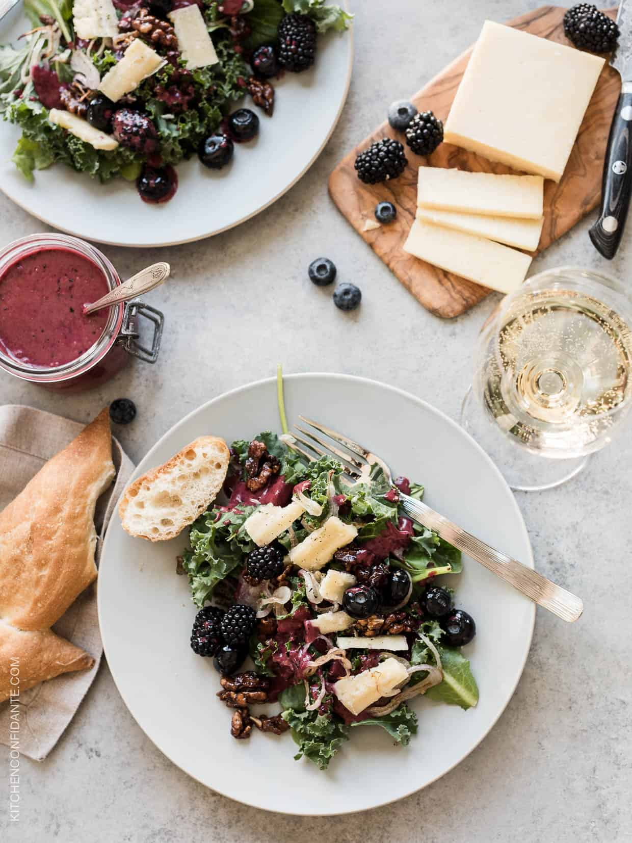 Blackberry and Blueberry Kale Salad with Aged Havarti