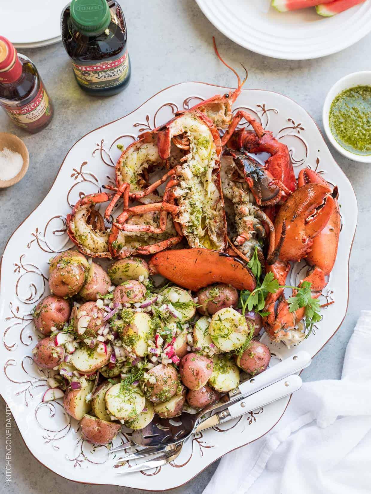 Grilled Chimichurri Lobster and Chimichurri Potato Salad